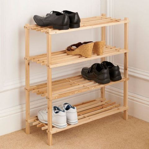 Wooden Shoe Organiser Rack 4 Tier